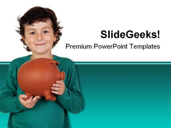 Boy With Big Piggy Bank Children PowerPoint Themes And PowerPoint Slides 0411