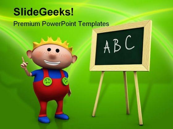 Boy With Blackboard Education PowerPoint Template 1110