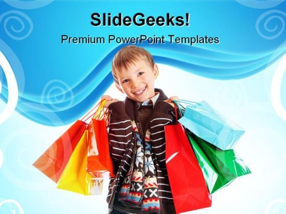 Boy With Shopping Bags Sales PowerPoint Templates And PowerPoint Backgrounds 0311