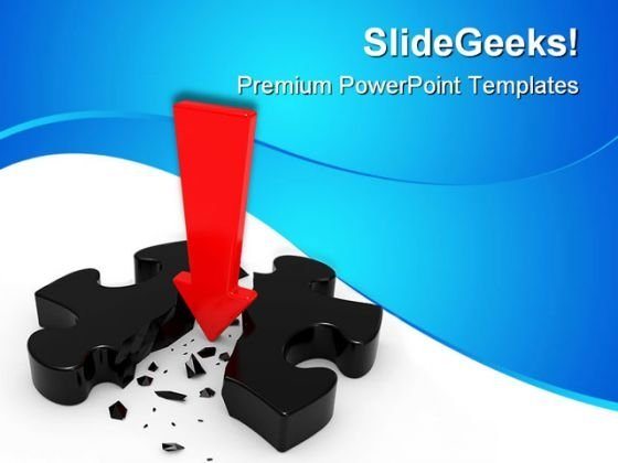 Broken Puzzle With Red Arrow Business PowerPoint Themes And PowerPoint Slides 0411