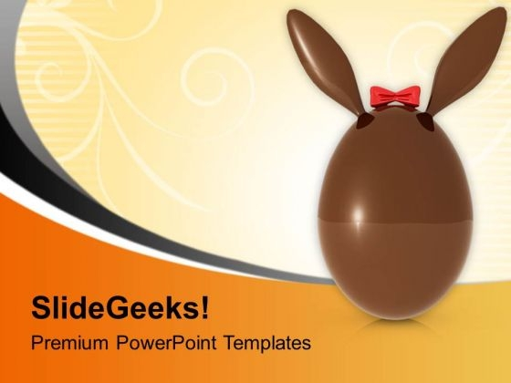 Brown Easter Bunny Egg PowerPoint Templates Ppt Backgrounds For Slides 0813