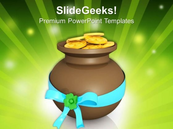Brown Pot Full Of Coins Patricks Day PowerPoint Templates Ppt Backgrounds For Slides 0313
