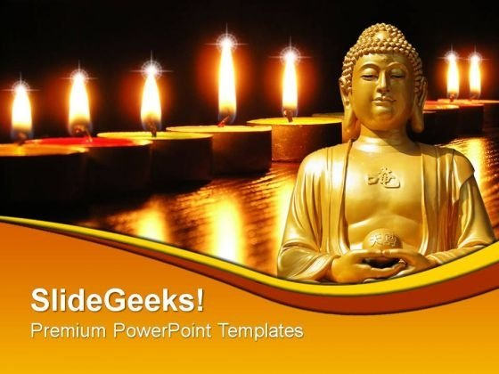 Buddha Statue With Candles Festival PowerPoint Templates And PowerPoint Themes 0812