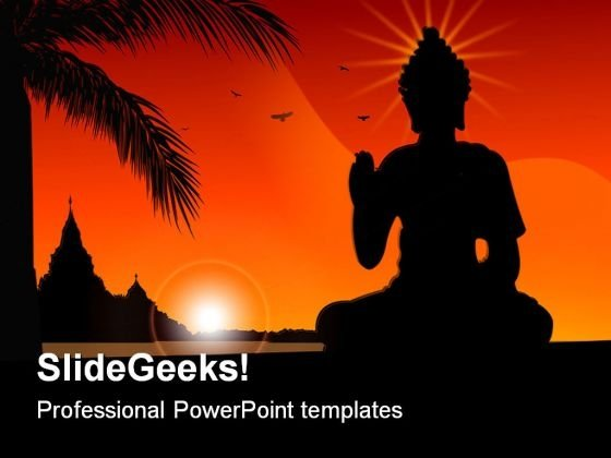 Budha Religion PowerPoint Template 0610