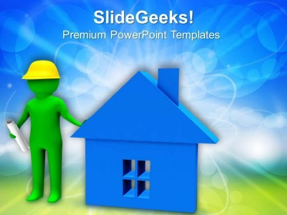Builder With Home And Map PowerPoint Templates Ppt Backgrounds For Slides 0713
