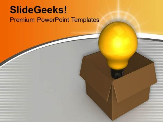 Bulb Idea Symbol In Carton Box PowerPoint Templates Ppt Backgrounds For Slides 0213