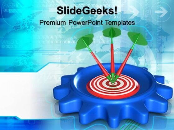 Bulls Eye Darts On Targets PowerPoint Templates And PowerPoint Themes 0612