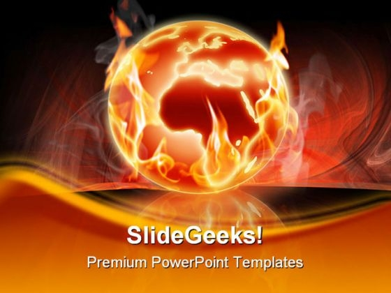 Burning World Globe PowerPoint Template 0910
