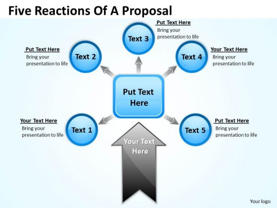 Business Cycle Diagram Five Reactions Of A Proposal Business Diagram
