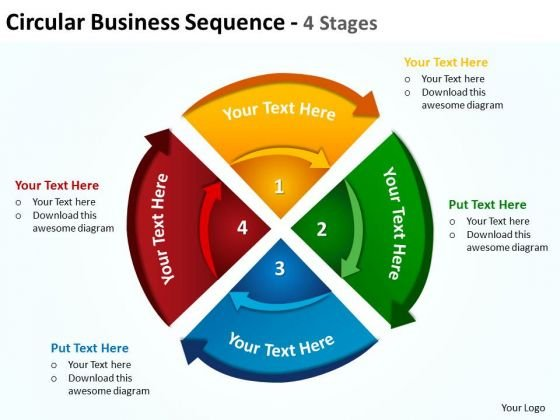 Business Diagram Circular Business Sequence 4 Stages 6 Strategy Diagram
