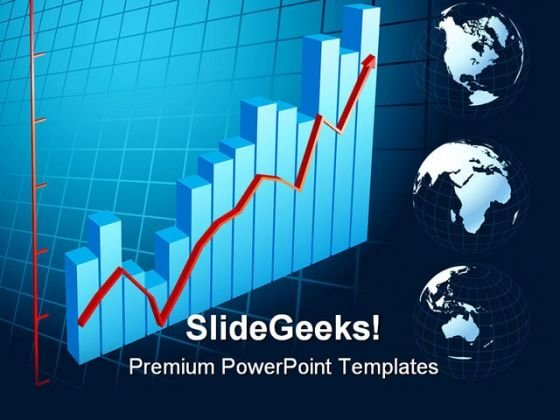 Business Graph With Arrow Globe PowerPoint Themes And PowerPoint Slides 0511