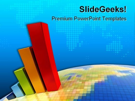 Business Growth Chart Global PowerPoint Backgrounds And Templates 1210