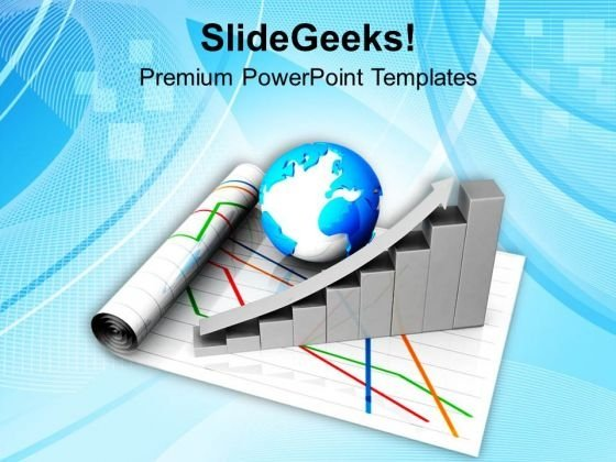 Business Growth Graph With Globe PowerPoint Templates Ppt Backgrounds For Slides 0713