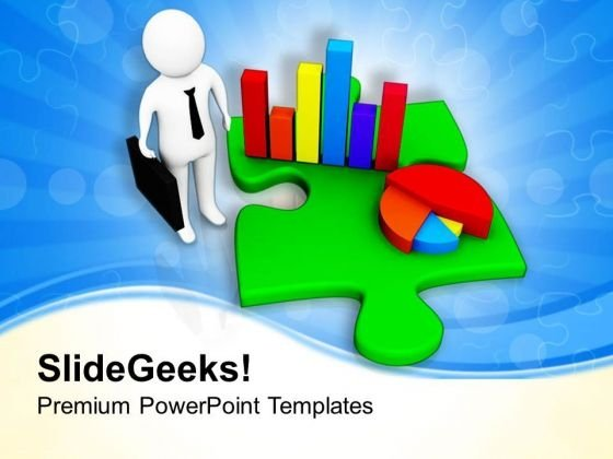 Business Man Showing Bar And Pie Graph PowerPoint Templates Ppt Backgrounds For Slides 0713
