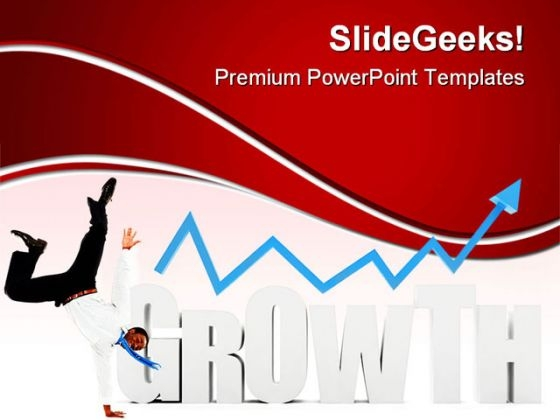 Business Man With Growth Success PowerPoint Themes And PowerPoint Slides 0511
