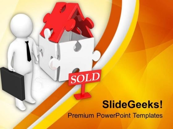Business Man With Sold House PowerPoint Templates Ppt Backgrounds For Slides 0713