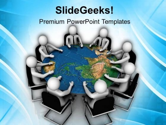 Business Meeting Around The World PowerPoint Templates Ppt Backgrounds For Slides 0813