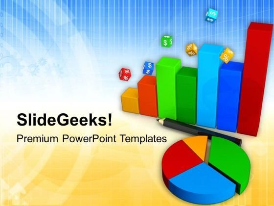 Business Progress Graph And Pie Chart PowerPoint Templates Ppt Backgrounds For Slides 0813