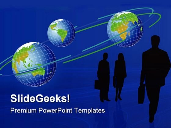 Business Silhouettes And Globe PowerPoint Templates And PowerPoint Backgrounds 0811