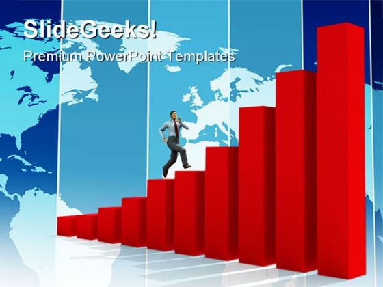 Businessman And Run Up Success PowerPoint Templates And PowerPoint Backgrounds 1011