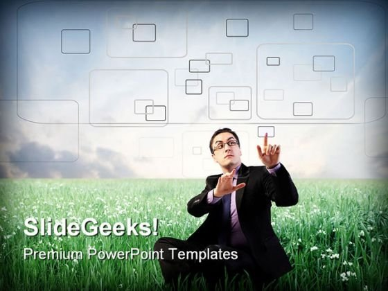 Businessman Digitizing Metaphor PowerPoint Themes And PowerPoint Slides 0411
