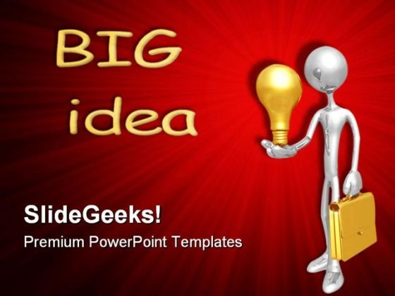 Businessman Holding Lightbulb Business PowerPoint Templates And PowerPoint Backgrounds 0611