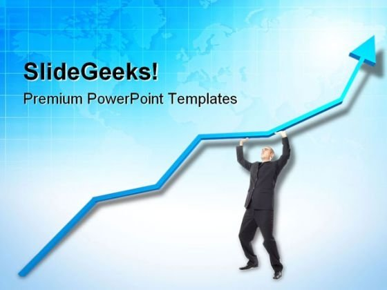 Businessman Holding Up Graph Marketing PowerPoint Templates And PowerPoint Backgrounds 0511