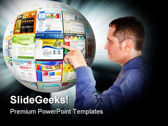 Businessman Pointing Internet PowerPoint Templates And PowerPoint Backgrounds 0411