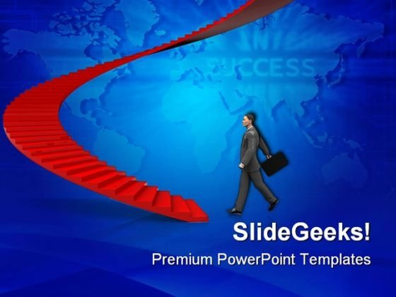 Businessman Step To Stairway Success PowerPoint Templates And PowerPoint Backgrounds 0511