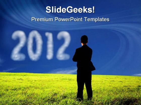 Businessman Watching 2012 Future PowerPoint Templates And PowerPoint Backgrounds 1011