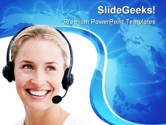 Businesswoman Communication PowerPoint Themes And PowerPoint Slides 0711