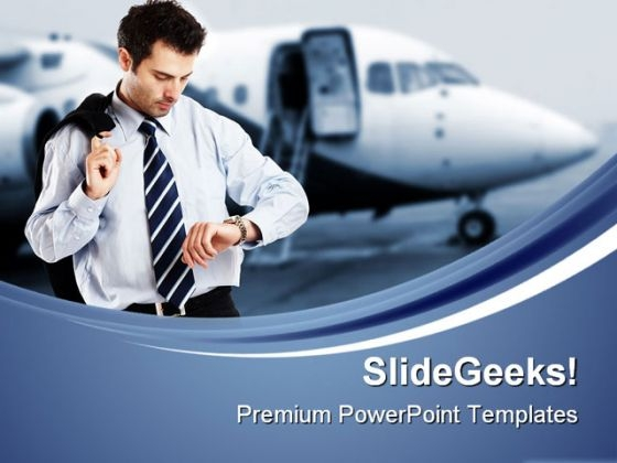 Busy Businessman Travel PowerPoint Templates And PowerPoint Backgrounds 0611