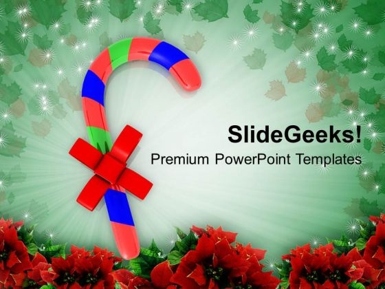 Candies On Christmas Background PowerPoint Templates Ppt Backgrounds For Slides 1212