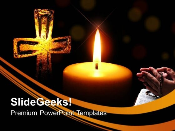 Candle Light And Cross Christian PowerPoint Templates And PowerPoint Themes 0712