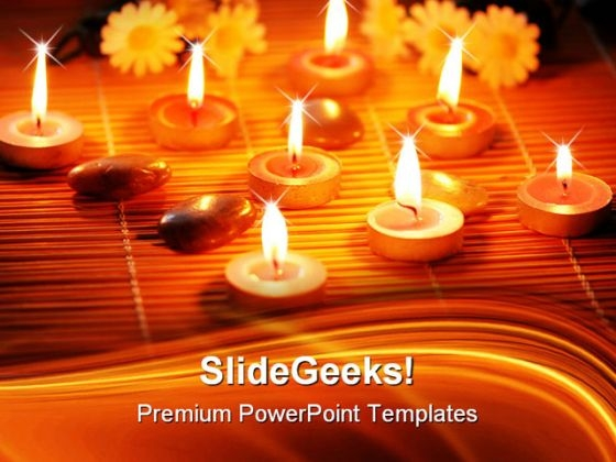 Candles Flowers And Pebbles Beauty PowerPoint Themes And PowerPoint Slides 0411