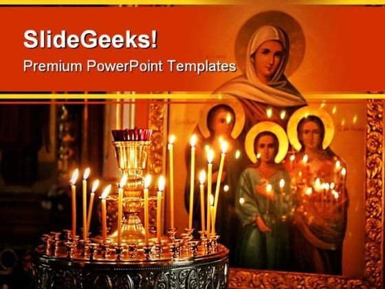 Candles Religion PowerPoint Template 0610
