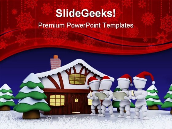 Carol Singers Christmas PowerPoint Themes And PowerPoint Slides 0511