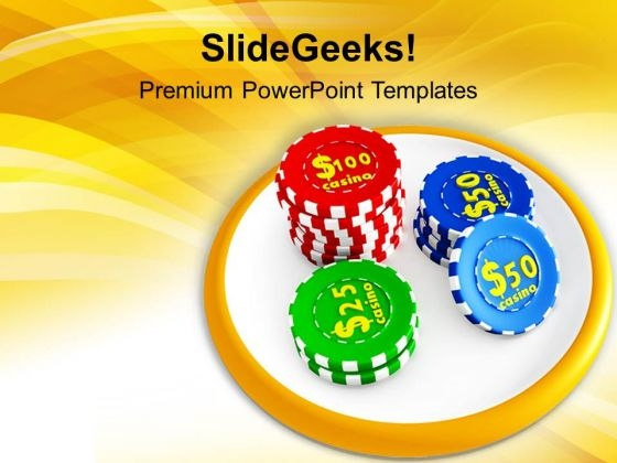 Casino Chips On White Board PowerPoint Templates Ppt Backgrounds For Slides 0213