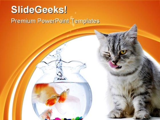 Cat And Fish Animals PowerPoint Templates And PowerPoint Backgrounds 0511