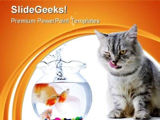 Cat And Fish Animals PowerPoint Themes And PowerPoint Slides 0511