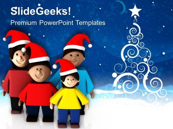 Celebrate Christmas Vacations With Family PowerPoint Templates Ppt Backgrounds For Slides 0713