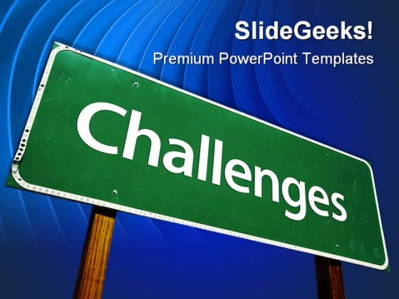 Challenges Signpost Metaphor PowerPoint Themes And PowerPoint Slides 0611