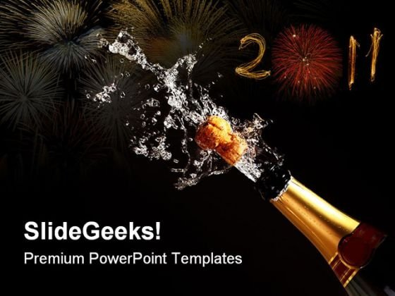 Champagne Bottle Success PowerPoint Themes And PowerPoint Slides 0711