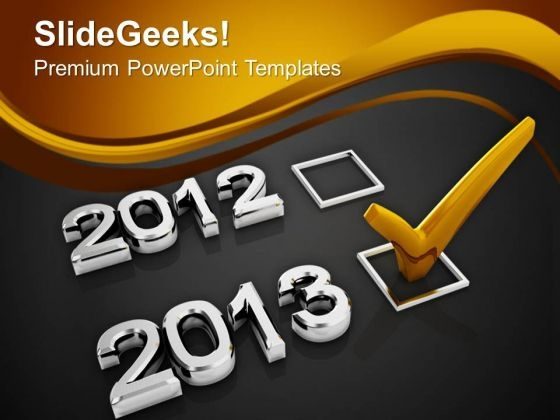Check Mark With 2013 Christmas Concept PowerPoint Templates Ppt Backgrounds For Slides 1112