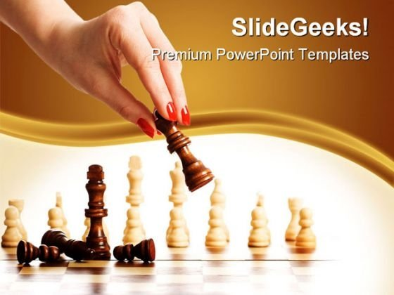 Chess And Woman Hand Game PowerPoint Templates And PowerPoint Backgrounds 0311