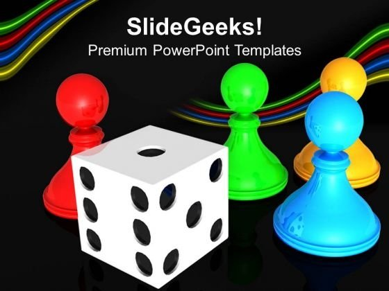 Chess Board With Dice Business PowerPoint Templates And PowerPoint Themes 0712