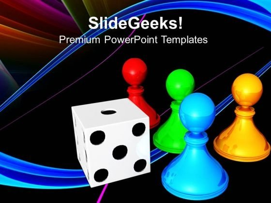 chess board with dice game powerpoint templates and powerpoint, Modern powerpoint