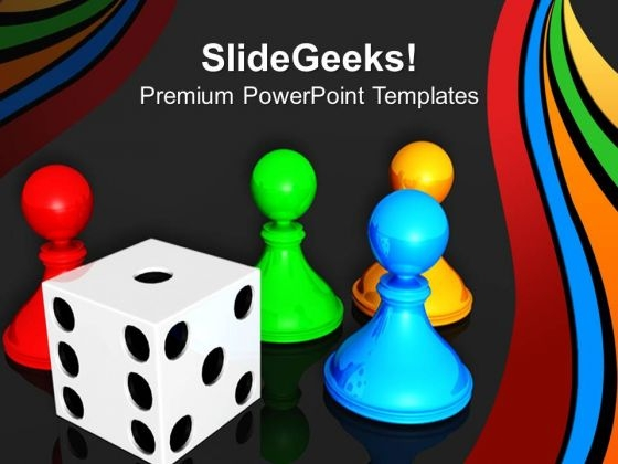 Chess Board With Dice Leadership PowerPoint Templates And PowerPoint Themes 0712