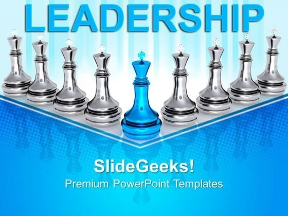 Chess King Leads Leadership PowerPoint Templates And PowerPoint Themes 0812