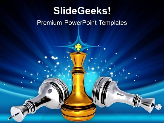 Chess King Standing Game Over Leadership PowerPoint Templates And PowerPoint Themes 1012